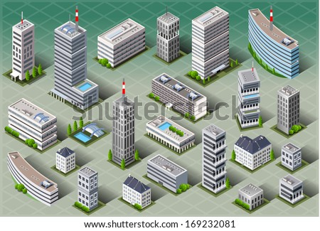 Detailed illustration of a Isometric European Buildings - stock vector