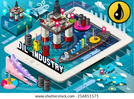 Detailed illustration of a Isometric Infographic Rig Energy Set on Tablet. Icon. Rig JPG. Rig JPEG. Object. Picture. Image. Graphic. Art. Illustration. Rig Vector. Rig EPS 10. AI. Drawing - stock - stock vector