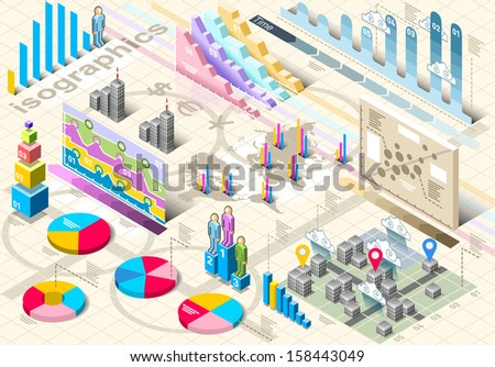 Detailed illustration of a Isometric Infographic Set Elements in Various Colors - stock vector