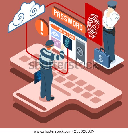 Detailed illustration of a Isometric Infographic Thief Biometric Recognition - Access Denied  - stock vector