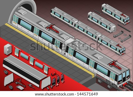 Detailed illustration of a isometric metro wagons in the station - stock vector