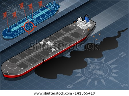 Detailed illustration of a Isometric Ship Tanker Leaky Oil in Front View - stock vector