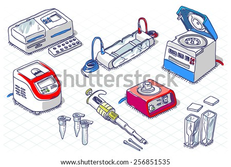 Detailed illustration of a Isometric Sketch - Molecular Biology - Laboratory Set - stock vector