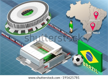 Detailed illustration of a Isometric Stadium of Brasilia and Sao Paulo, Brazil - stock vector