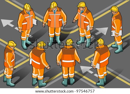 Detailed illustration of a Isometric standing foreman in eight positions - stock vector