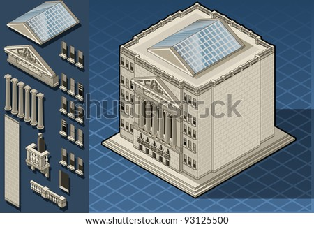 Detailed illustration of a Isometric stock exchange building - stock vector