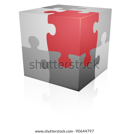 detailed illustration of a jigsaw puzzle cube, eps8 vector - stock vector