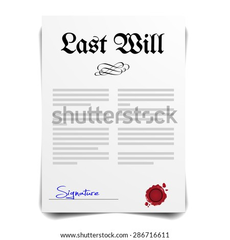 detailed illustration of a Last Will Letter, eps10 vector - stock vector