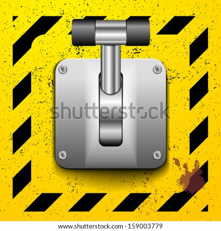 detailed illustration of a lever in upright position on a yellow construction style background - stock vector