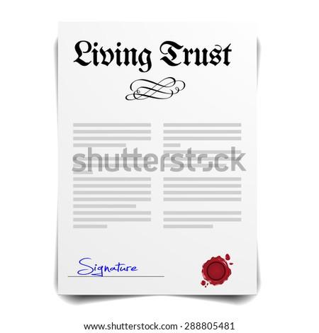 detailed illustration of a Living Trust Letter, eps10 vector - stock vector