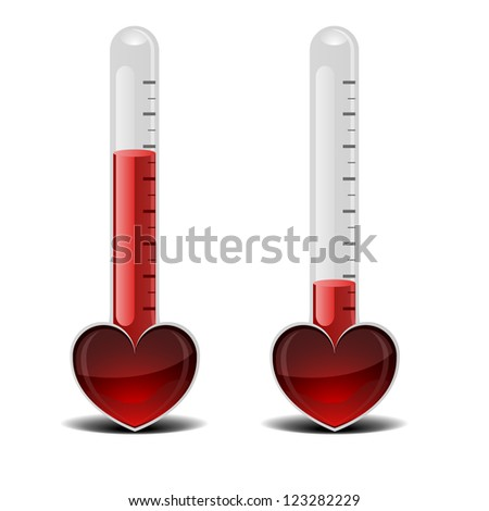 detailed illustration of a love thermometer, valentine's day concept - stock vector