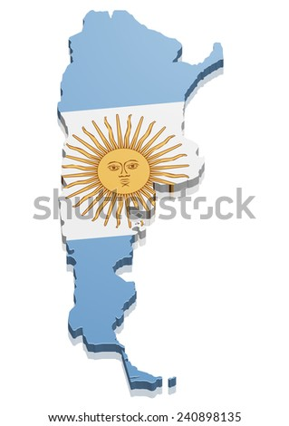 detailed illustration of a map of Argentina with flag, eps10 vector - stock vector