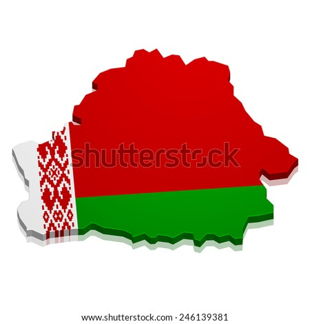 detailed illustration of a map of Belarus with flag, eps10 vector - stock vector