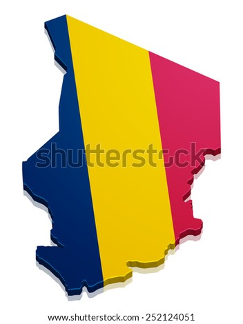 detailed illustration of a map of Chad with flag, eps10 vector - stock vector