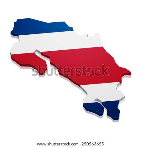 detailed illustration of a map of Costa Rica with flag, eps10 vector - stock vector