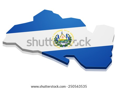 detailed illustration of a map of El Salvador with flag, eps10 vector - stock vector