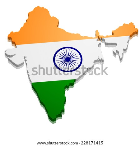 detailed illustration of a map of India with flag, eps10 vector - stock vector