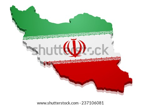 detailed illustration of a map of Iran with flag, eps10 vector - stock vector