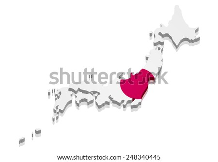 detailed illustration of a map of Japan with flag, eps10 vector - stock vector