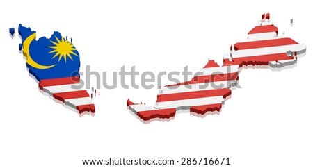 detailed illustration of a map of Malaysia with flag, eps10 vector - stock vector