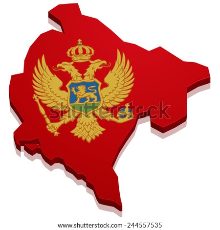 detailed illustration of a map of Montenegro with flag, eps10 vector - stock vector
