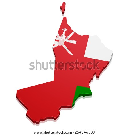 detailed illustration of a map of Oman with flag, eps10 vector - stock vector