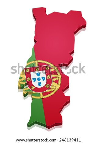 detailed illustration of a map of Portugal with flag, eps10 vector - stock vector