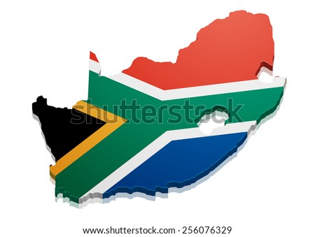 detailed illustration of a map of South Africa with flag, eps10 vector - stock vector