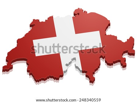 detailed illustration of a map of Switzerland with flag, eps10 vector