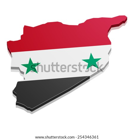 detailed illustration of a map of Syria with flag, eps10 vector - stock vector