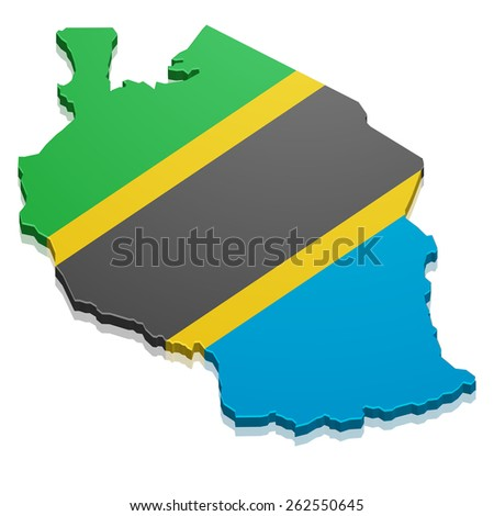 detailed illustration of a map of Tanzania with flag, eps10 vector - stock vector