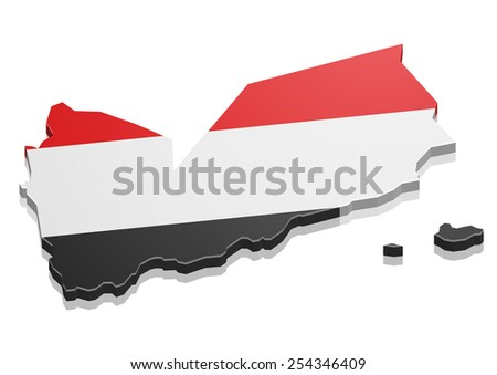 detailed illustration of a map of Yemen with flag, eps10 vector - stock vector