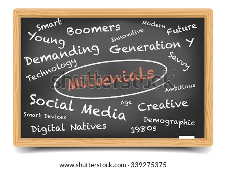 detailed illustration of a Millenials wordcloud on a blackboard, eps10 vector, gradient mesh included - stock vector