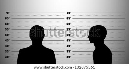 detailed illustration of a mugshot background with a portrait and profile , eps10 vector - stock vector