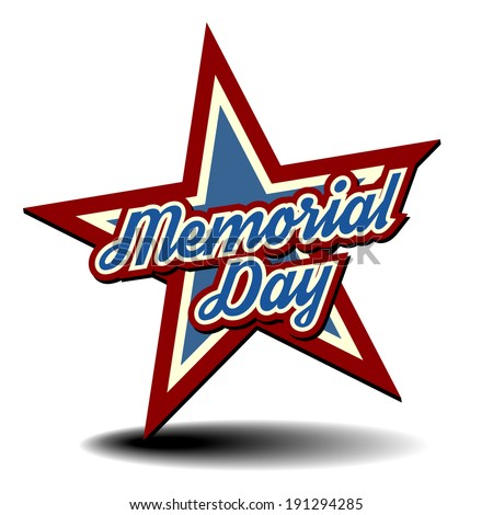 detailed illustration of a patriotic star with Memorial Day text, eps 10 vector - stock vector