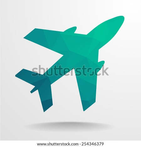 detailed illustration of a polygonal airplane, eps10 vector - stock vector