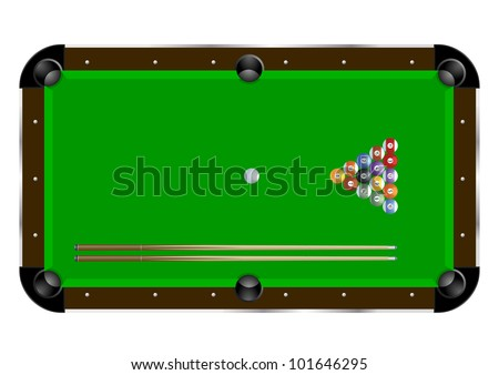 detailed illustration of a pool table with cues and balls - stock vector