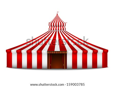 detailed illustration of a red and white circus tent - stock vector