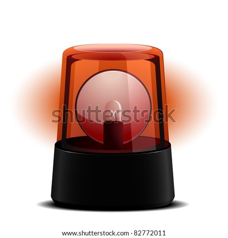 detailed illustration of a red flashing light, symbol for alert and emergency, eps8 vector - stock vector