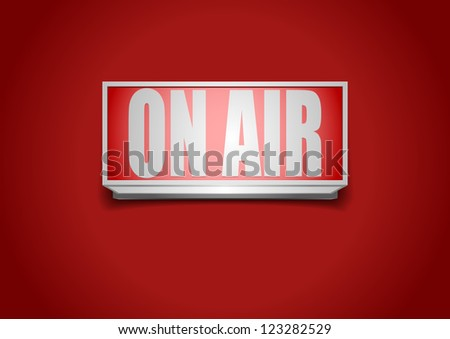 detailed illustration of a red on air sign - stock vector