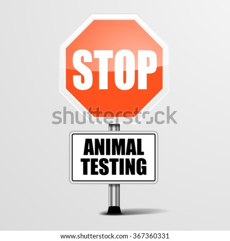detailed illustration of a red stop animal testing sign, eps10 vector - stock vector