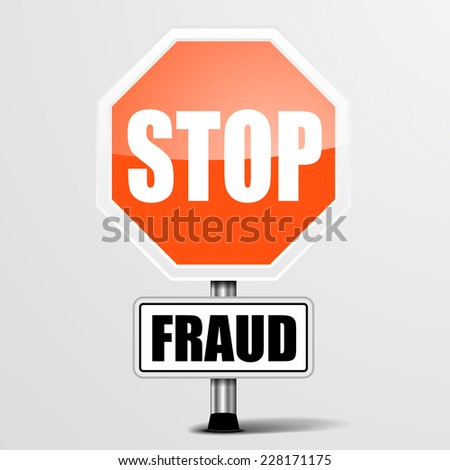 detailed illustration of a red stop Fraud sign, eps10 vector - stock vector