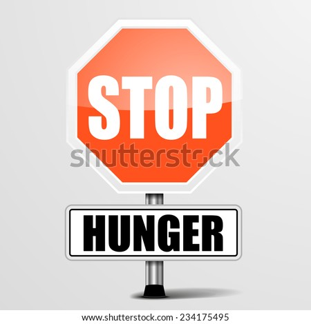 detailed illustration of a red stop Hunger sign, eps10 vector - stock vector