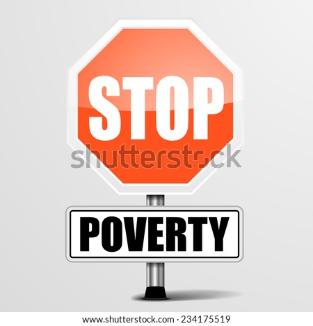detailed illustration of a red stop Poverty sign, eps10 vector - stock vector