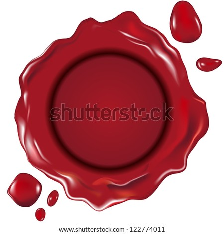 detailed illustration of a red wax seal, gradient mesh included - stock vector