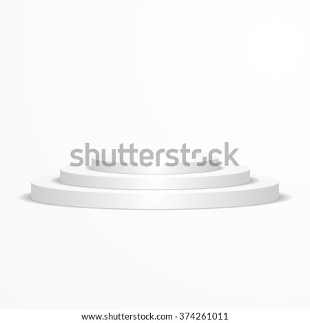 detailed illustration of a round white podium, eps10 vector - stock vector
