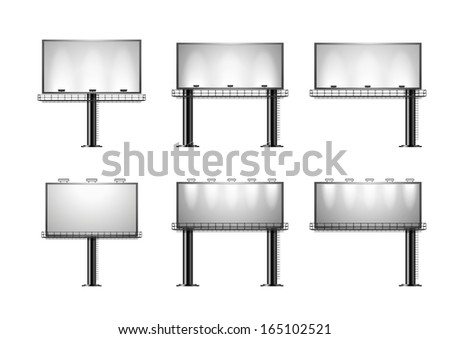 detailed illustration of a set of a black advertising signs isolated on white, eps10 vector - stock vector