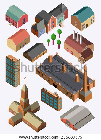 Detailed illustration of a Set of Isometric Building - stock vector