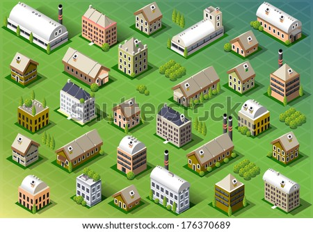 Detailed illustration of a Set of Isometric Building in Spring - stock vector