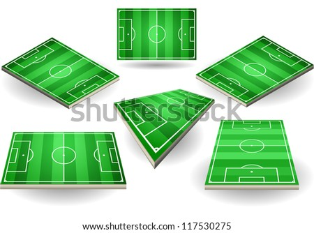 Detailed illustration of a set of Soccer fields in six different positions - stock vector